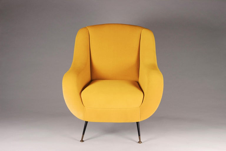 British Pair of Mid-Century Modern Style Italian Lounge Chairs in Yellow For Sale