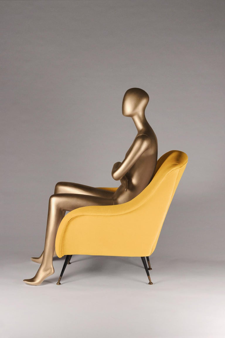 Velvet Pair of Mid-Century Modern Style Italian Lounge Chairs in Yellow For Sale