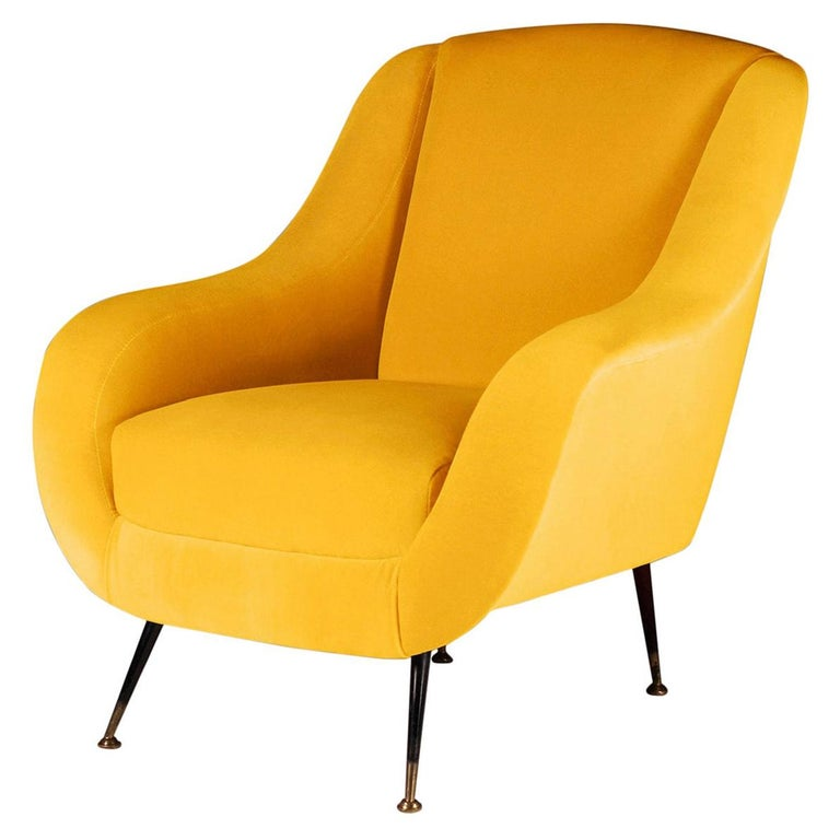 Pair of Mid-Century Modern Style Italian Lounge Chairs in Yellow For Sale