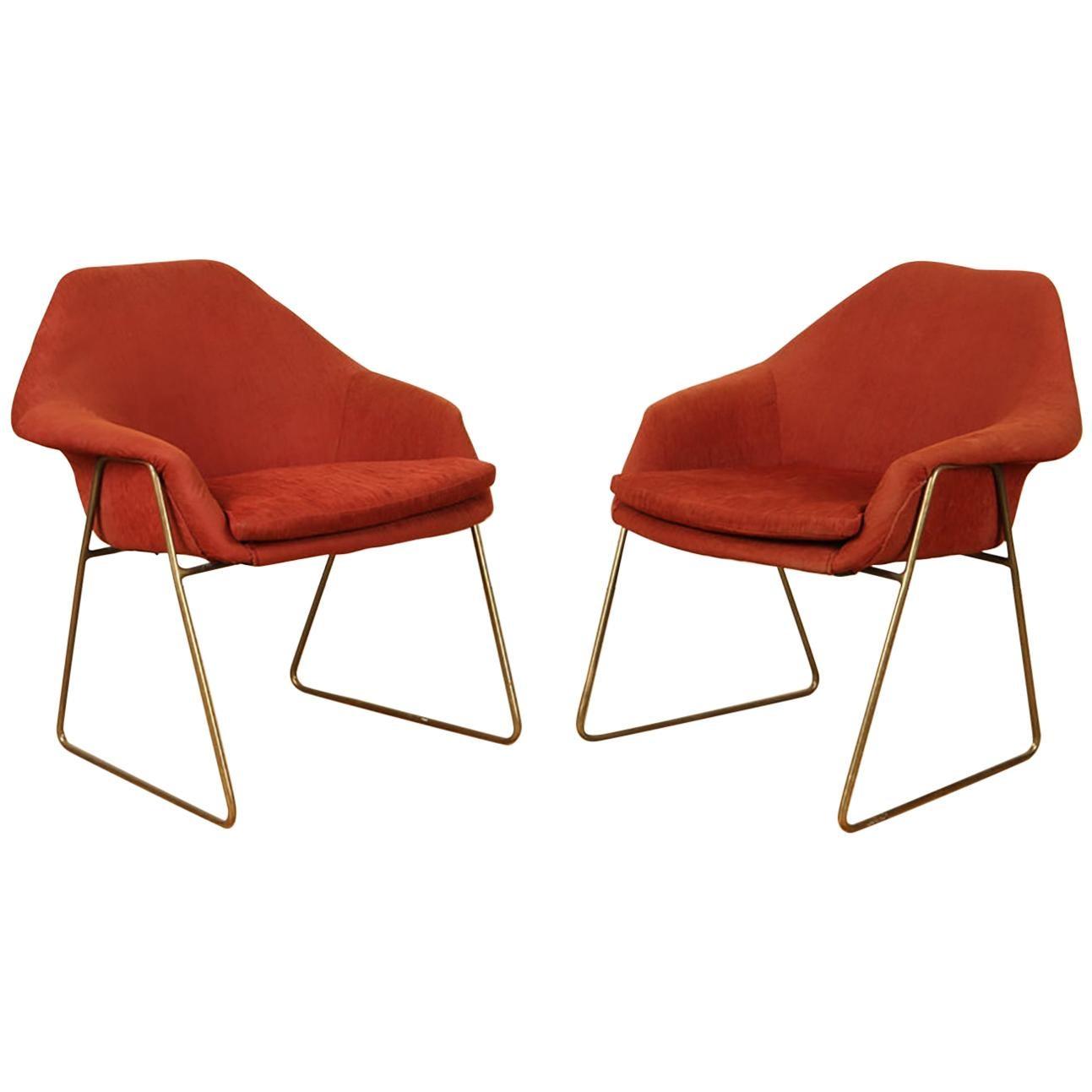 Pair of Mid-Century Modern Upholstered Chairs Raised on Bronze Legs