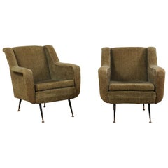 Pair of Mid-Century Modern Upholstered Club Chairs from Italy with Iron Legs