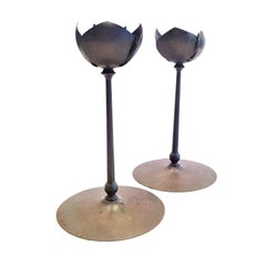Pair of Mid-Century Modernist Anodized Brass Lotus Candlesticks, USA, 1950s