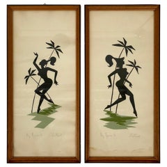 Pair of Midcentury Paintings on Paper Picturing Women as Amazons, Austria, 1950