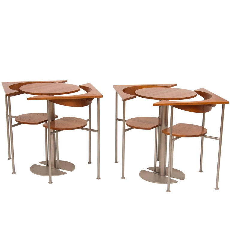 Pair of Midcentury Tables and Chairs Designed by Frans Schrofer