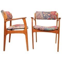 Pair of Midcentury Teak Dining Armchairs by Erik Buch for Oddense Maskinsned