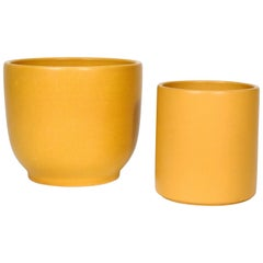 Pair of Midcentury Yellow Ochre Pots by Gainey Pottery