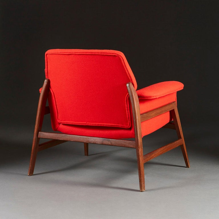 Mid-Century Modern Pair of Midcentury Italian Armchairs upholstered in Danish Wool For Sale