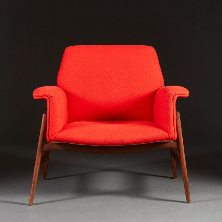 20th Century Pair of Midcentury Italian Armchairs upholstered in Danish Wool For Sale