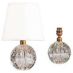 Pair of Midcentury Murano Glass Bullicante Ball Table Lamps