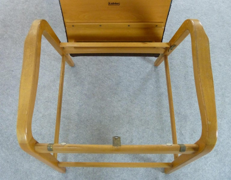 Pair of Midcentury Plywood Chairs, Convertible Easy Chairs from Lübke, Germany For Sale 5
