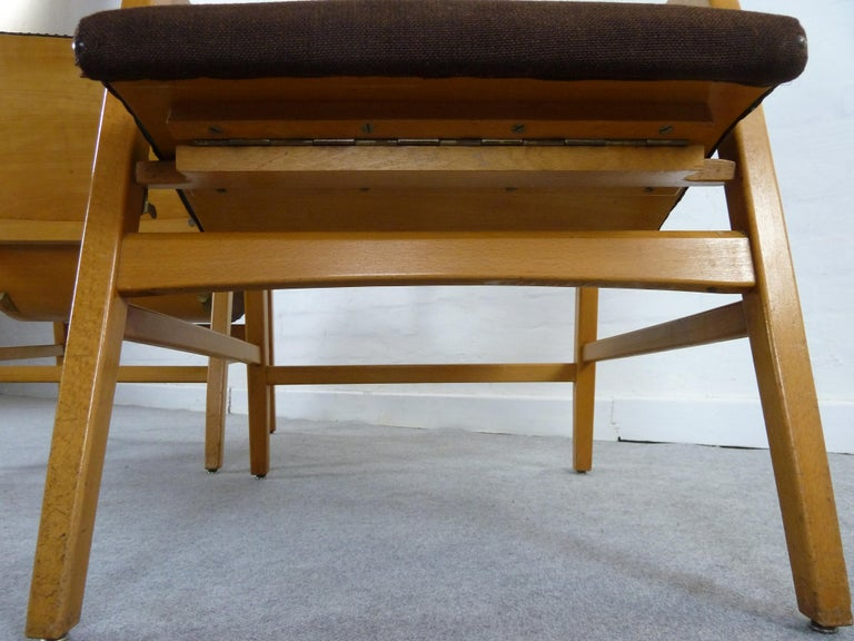 Pair of Midcentury Plywood Chairs, Convertible Easy Chairs from Lübke, Germany For Sale 6