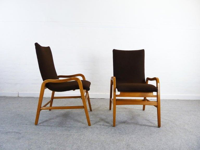 Pair of Midcentury Plywood Chairs, Convertible Easy Chairs from Lübke, Germany For Sale 8