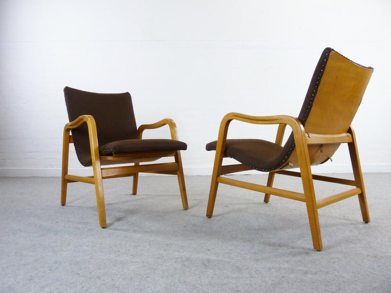 Pair of Midcentury Plywood Chairs, Convertible Easy Chairs from Lübke, Germany For Sale 9