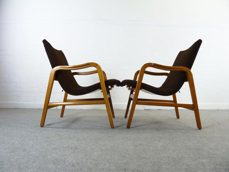 Pair of Midcentury Plywood Chairs, Convertible Easy Chairs from Lübke, Germany For Sale 10