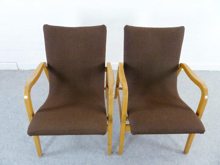 Pair of Midcentury Plywood Chairs, Convertible Easy Chairs from Lübke, Germany For Sale 12