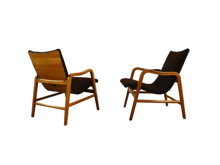 Pair of Midcentury Plywood Chairs, Convertible Easy Chairs from Lübke, Germany For Sale 14