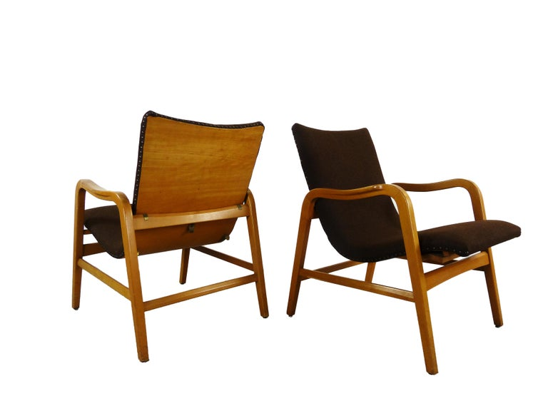 Mid-Century Modern Pair of Midcentury Plywood Chairs, Convertible Easy Chairs from Lübke, Germany For Sale