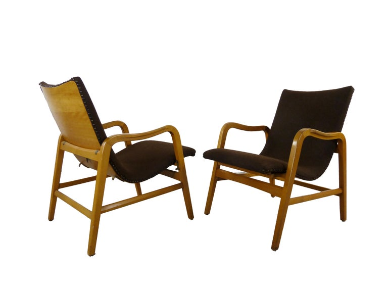 Pair of Midcentury Plywood Chairs, Convertible Easy Chairs from Lübke, Germany In Good Condition For Sale In Halle, DE