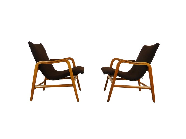 Mid-20th Century Pair of Midcentury Plywood Chairs, Convertible Easy Chairs from Lübke, Germany For Sale