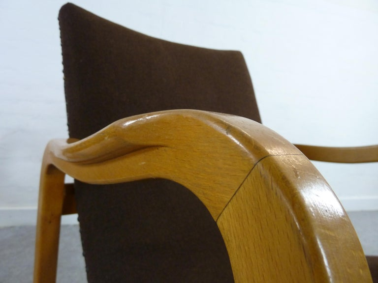 Brass Pair of Midcentury Plywood Chairs, Convertible Easy Chairs from Lübke, Germany For Sale