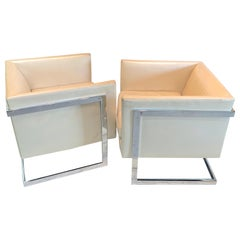Pair of Milo Baughman Floating Cube Chair Frames, circa 1980