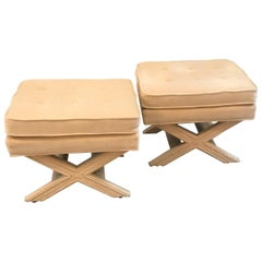 Pair of Milo Baughman Style X Benches