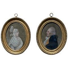 Pair of Miniature Portraits in Giltwood Frames
