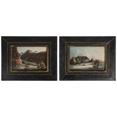 Pair of Miniature Views of Port Towns on the Trade Route, Chinese Artist, Canton