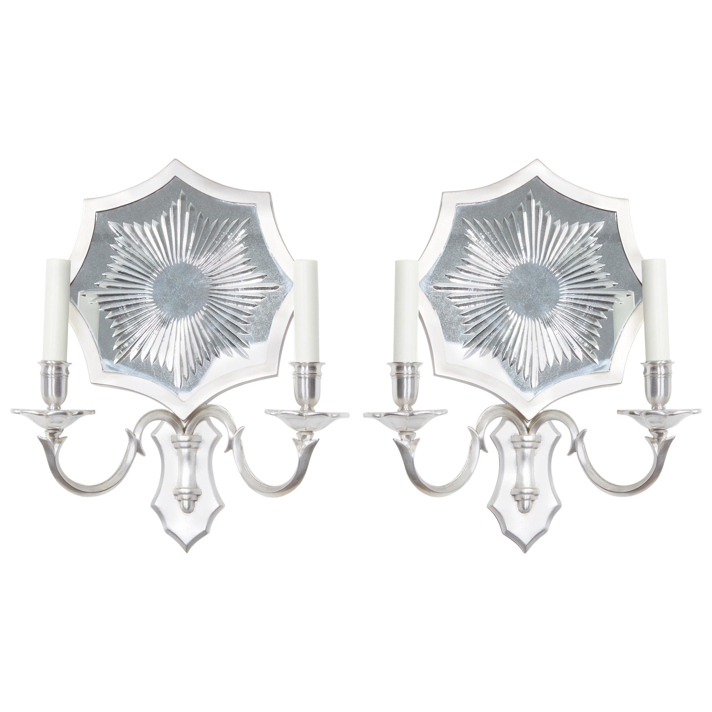 Pair of Mirrored Sunburst Sconces by David Duncan
