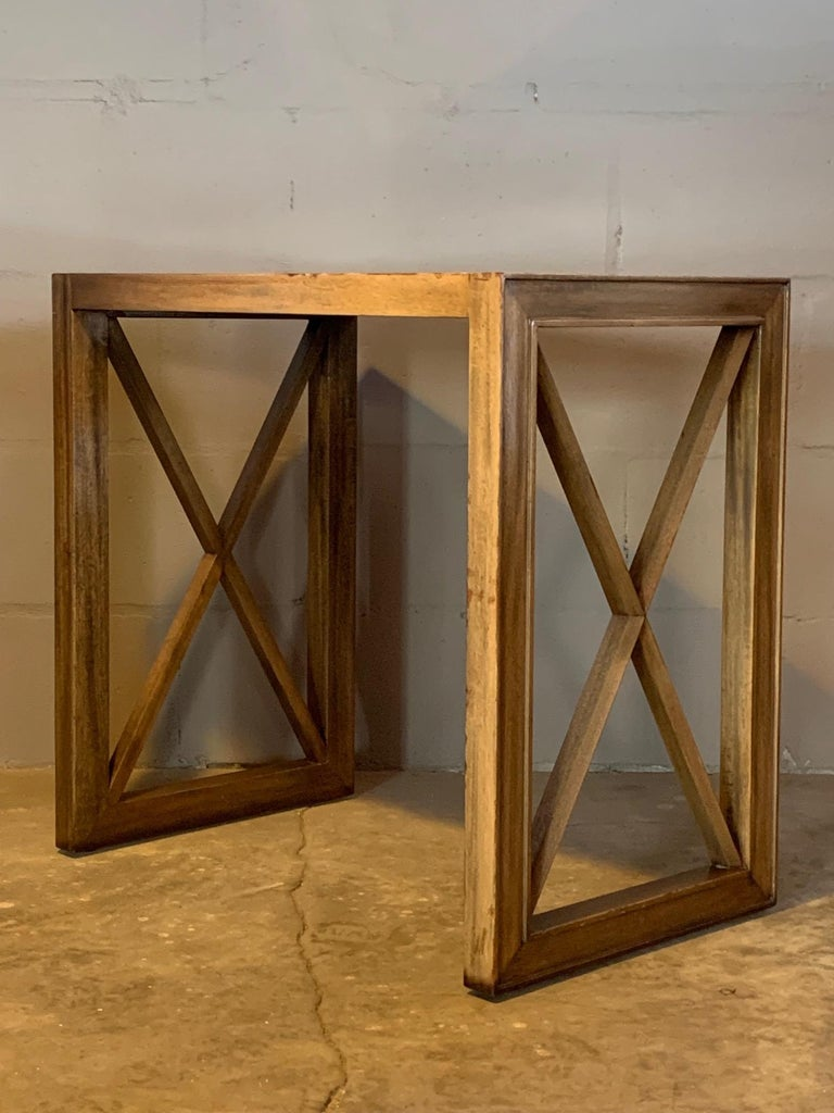 Pair of Mirrored Top Side Tables by James Mont For Sale 3