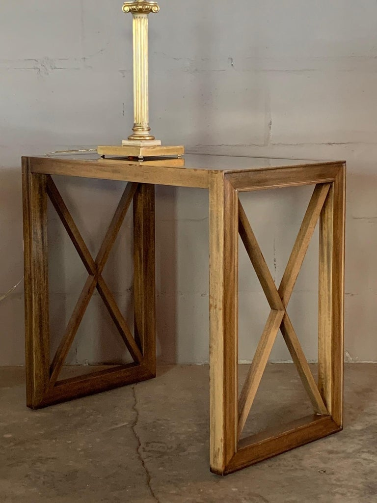 Pair of Mirrored Top Side Tables by James Mont For Sale 4