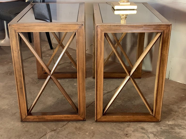 Pair of Mirrored Top Side Tables by James Mont For Sale 5