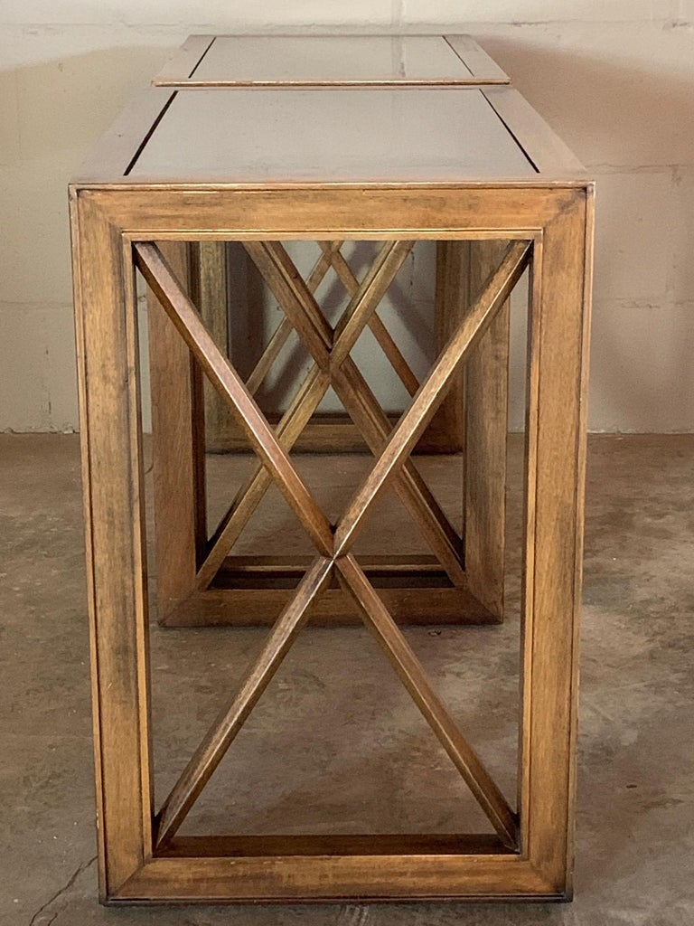 Pair of Mirrored Top Side Tables by James Mont For Sale 6