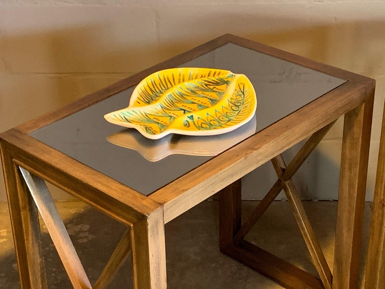 Modern Pair of Mirrored Top Side Tables by James Mont For Sale