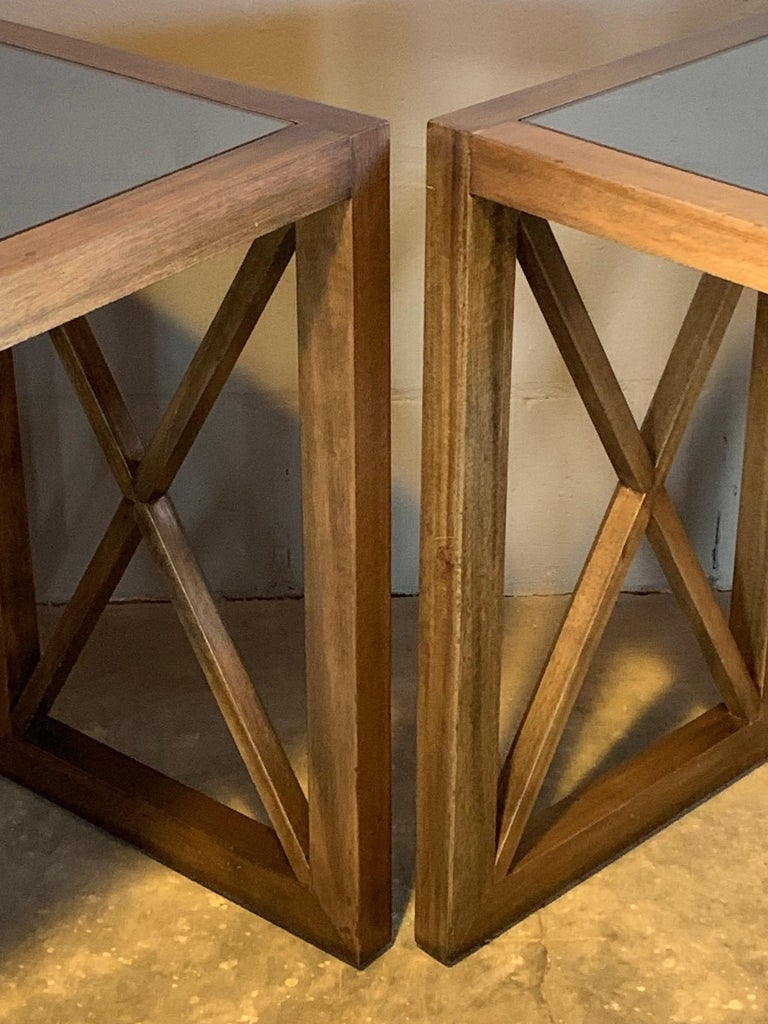 American Pair of Mirrored Top Side Tables by James Mont For Sale