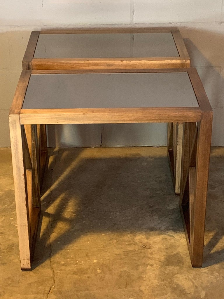 Pair of Mirrored Top Side Tables by James Mont In Good Condition For Sale In St.Petersburg, FL