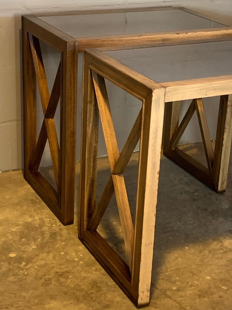 Mid-20th Century Pair of Mirrored Top Side Tables by James Mont For Sale