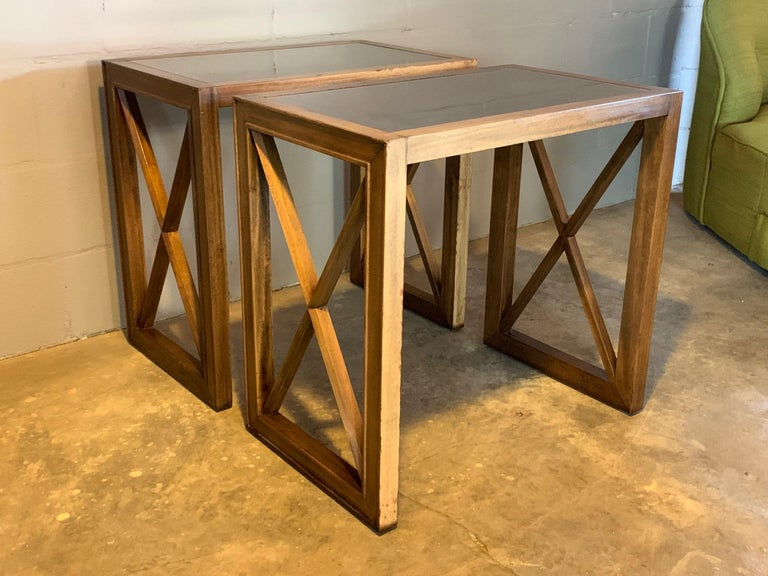 Mahogany Pair of Mirrored Top Side Tables by James Mont For Sale