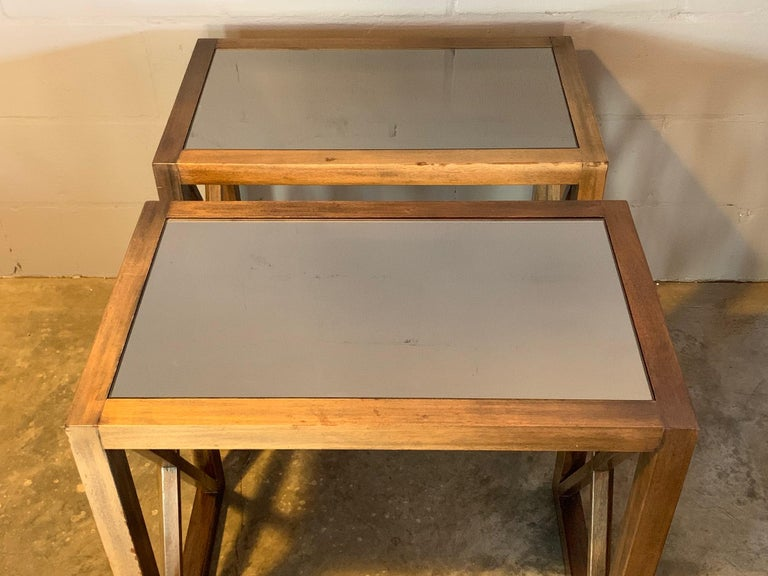 Pair of Mirrored Top Side Tables by James Mont For Sale 1