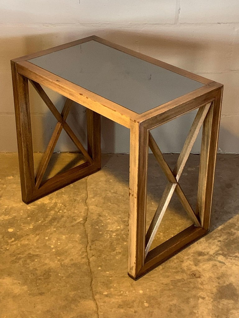 Pair of Mirrored Top Side Tables by James Mont For Sale 2