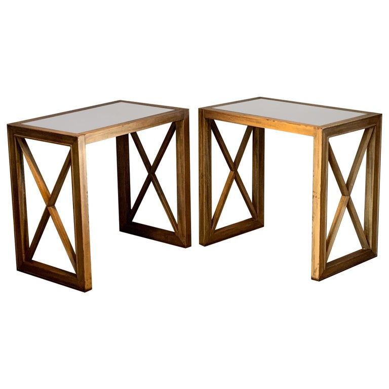 Pair of Mirrored Top Side Tables by James Mont For Sale
