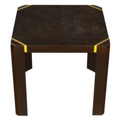 Pair of Modern Black Lacquer Side Tables with Brass Details