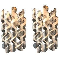 Pair of  Modern Italian Curly Murano Glass Sconces or Wall Lights