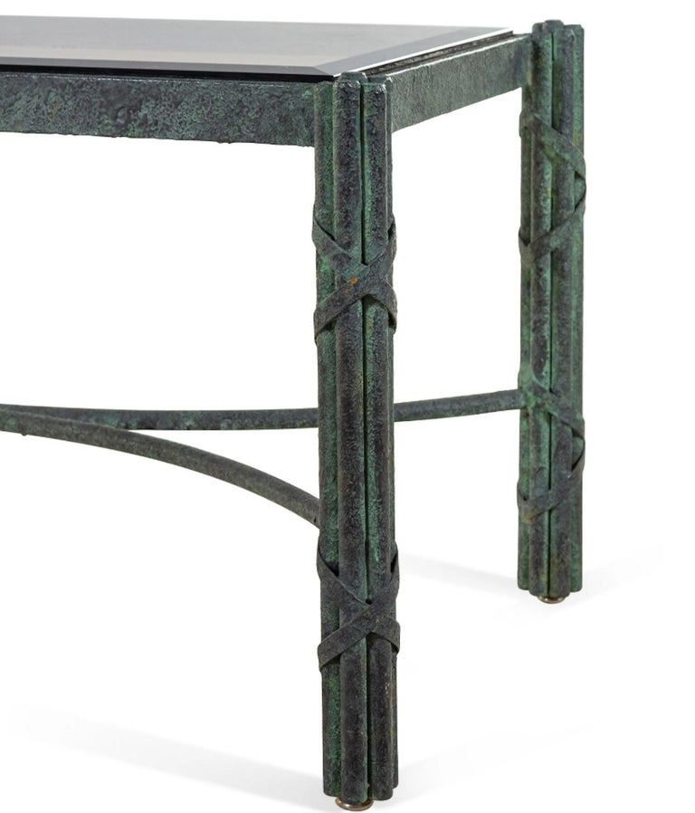 Neoclassical Pair of Modern Solid Patinated Bronze Smoky Glass-Top Low Tables/Benches For Sale