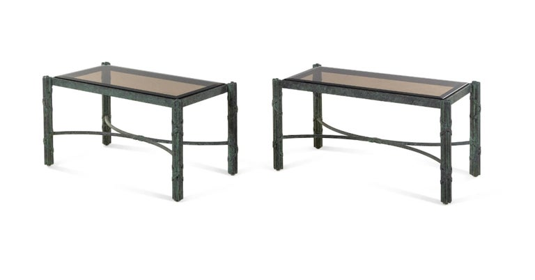 Pair of Modern Solid Patinated Bronze Smoky Glass-Top Low Tables/Benches In Excellent Condition For Sale In Buchanan, MI