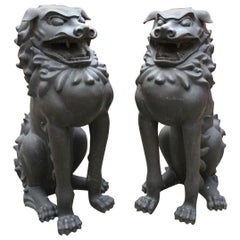 Pair of Monumental Bronze Foo Dogs Artist Lanford Monroe