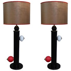 Pair of Murano and Raffia Shade Midcentury Table Lamps, Italy, 1970