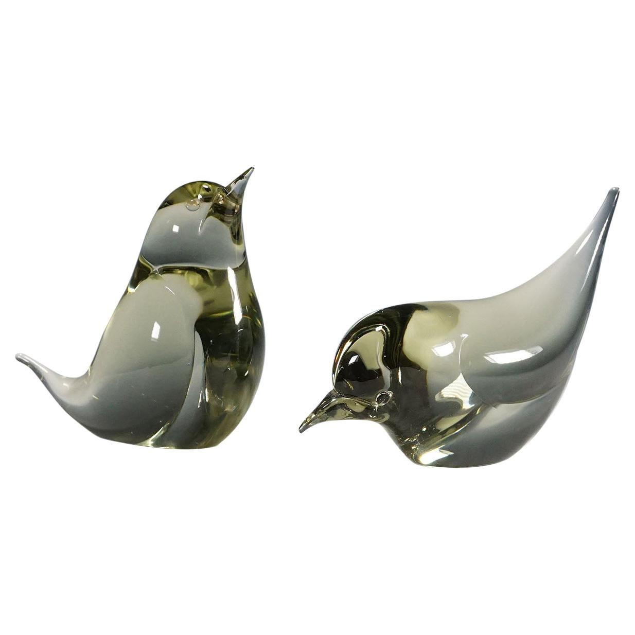Pair of Murano Glass Birds Designed by Livio Seguso, circa 1970s