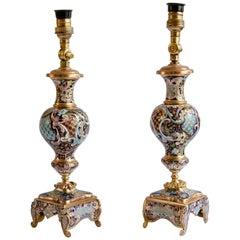 Pair of Napoleon III Champleve Lamps