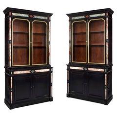 A Pair of Napoleon III Pietre Dure Bookcases